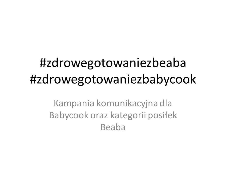 Główne przesłania kampanii Hasło przewodnie: #zdrowegotowaniezbeaba i #zdrowegotowaniezbabycook Gotowanie z Babycook jest zdrowe, szybkie i łatwe – Posiłki z Babycook są zdrowe dzięki gotowaniu na parze – Gotowanie z Babycook jest wygodne (wszystko w jedynym dzbanku) – Gotowanie z Babycook jest odpowiednie dla mniejszych i dla większych dzieci – Babycook zdrową alternatywą dla słoików i długiego gotowania tradycyjnego kiedy mamy mało czasu przy małych dzieciach; Z Beaba zdrowe gotowanie dla dzieci jest łatwe i komfortowe