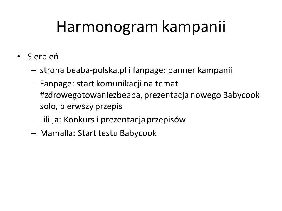 Harmonogram kampanii Sierpień – strona beaba-polska.pl i fanpage: banner kampanii – Fanpage: start komunikacji na temat #zdrowegotowaniezbeaba, prezentacja nowego Babycook solo, pierwszy przepis – Liliija: Konkurs i prezentacja przepisów – Mamalla: Start testu Babycook