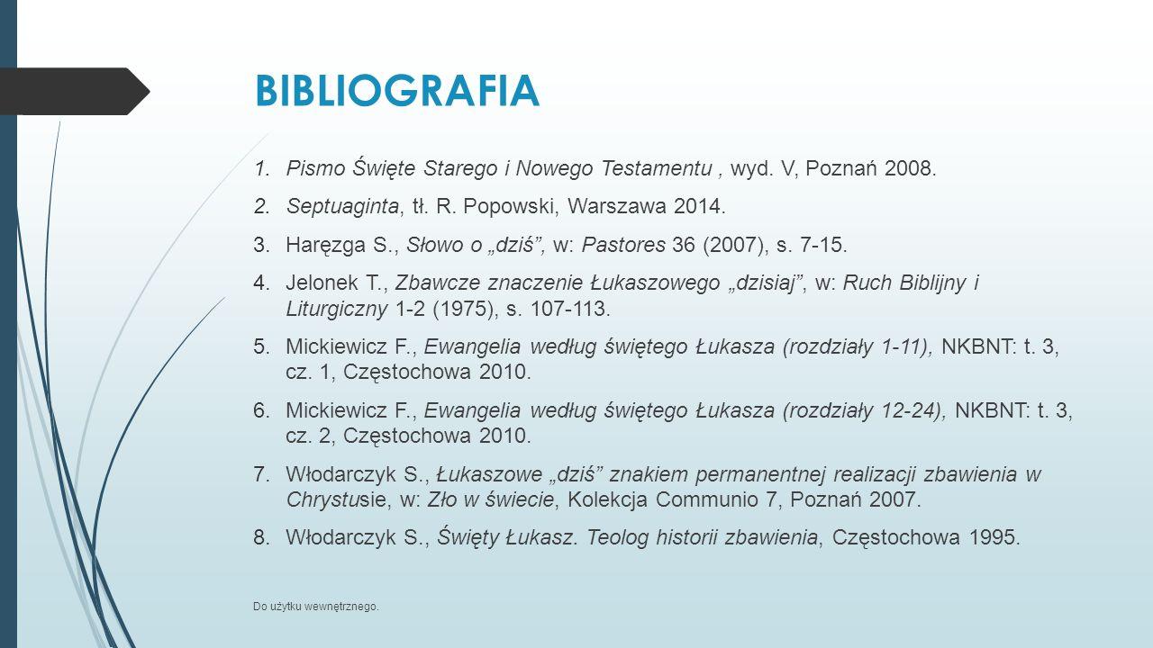 """BIBLIOGRAFIA 1.Pismo Święte Starego i Nowego Testamentu, wyd. V, Poznań 2008. 2.Septuaginta, tł. R. Popowski, Warszawa 2014. 3.Haręzga S., Słowo o """"dz"""