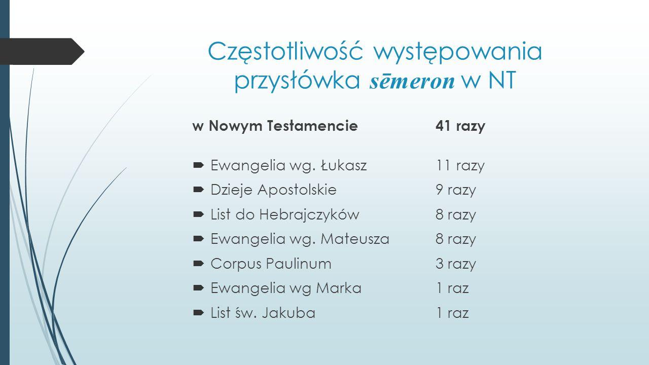 Częstotliwość występowania przysłówka sēmeron w NT w Nowym Testamencie 41 razy  Ewangelia wg. Łukasz11 razy  Dzieje Apostolskie9 razy  List do Hebr