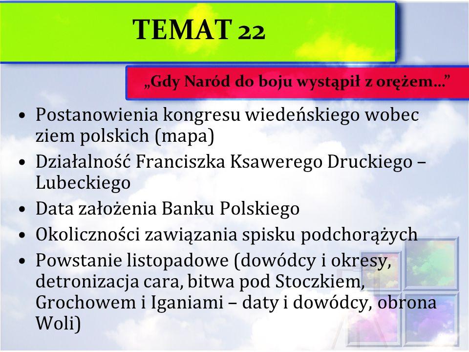 TEMAT 22 Postanowienia kongresu wiedeńskiego wobec ziem polskich (mapa) Działalność Franciszka Ksawerego Druckiego – Lubeckiego Data założenia Banku P