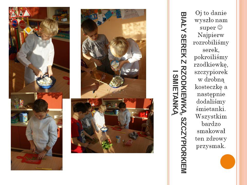 KROIMY WARZYWA I OWOCE Kolejnym etapem naszych przygotowań było pokrojenie warzyw i ułożenie ich na tacach. Nasze panie wytłumaczyły nam wcześniej jak