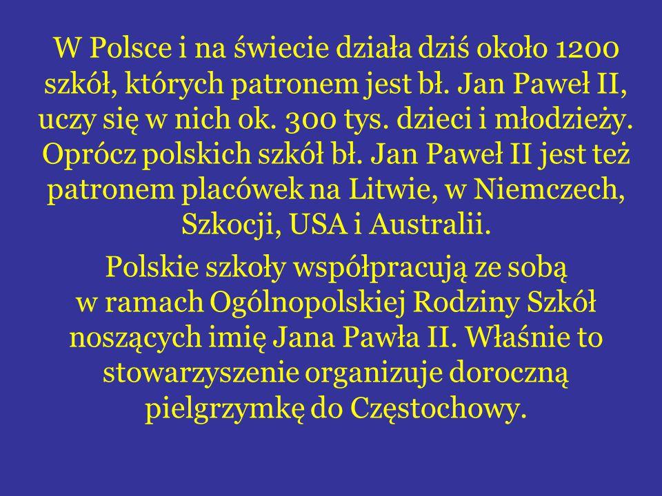 W Polsce i na świecie działa dziś około 1200 szkół, których patronem jest bł.