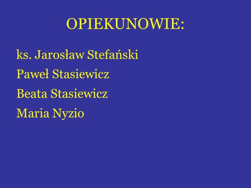 OPIEKUNOWIE: ks. Jarosław Stefański Paweł Stasiewicz Beata Stasiewicz Maria Nyzio
