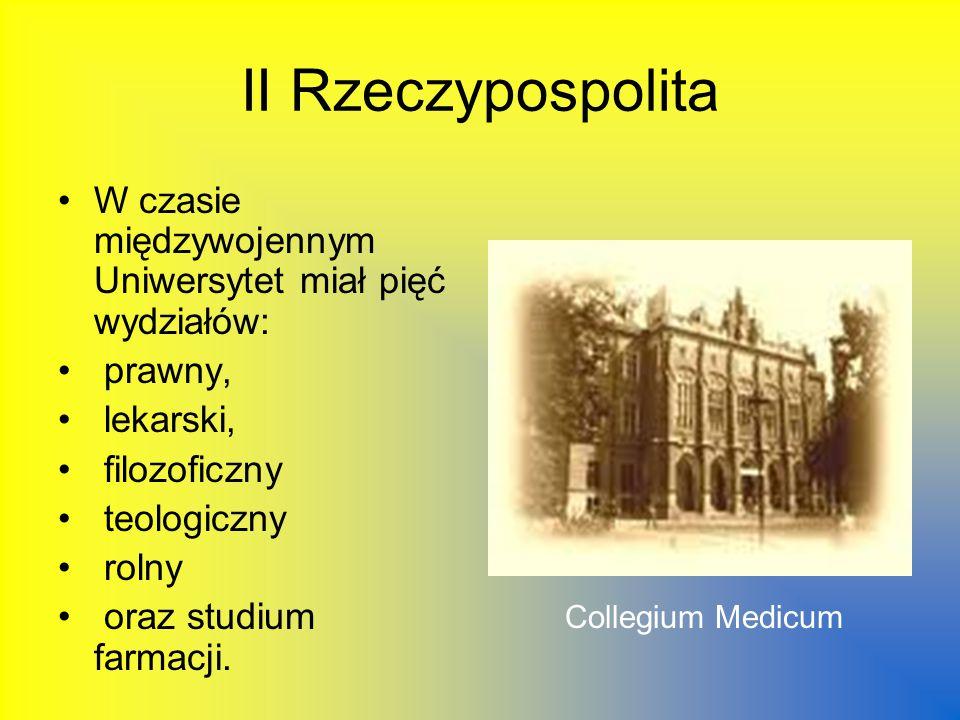 II Rzeczypospolita W czasie międzywojennym Uniwersytet miał pięć wydziałów: prawny, lekarski, filozoficzny teologiczny rolny oraz studium farmacji.