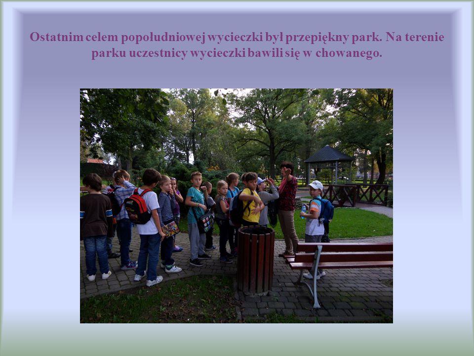 Ostatnim celem popołudniowej wycieczki był przepiękny park. Na terenie parku uczestnicy wycieczki bawili się w chowanego.