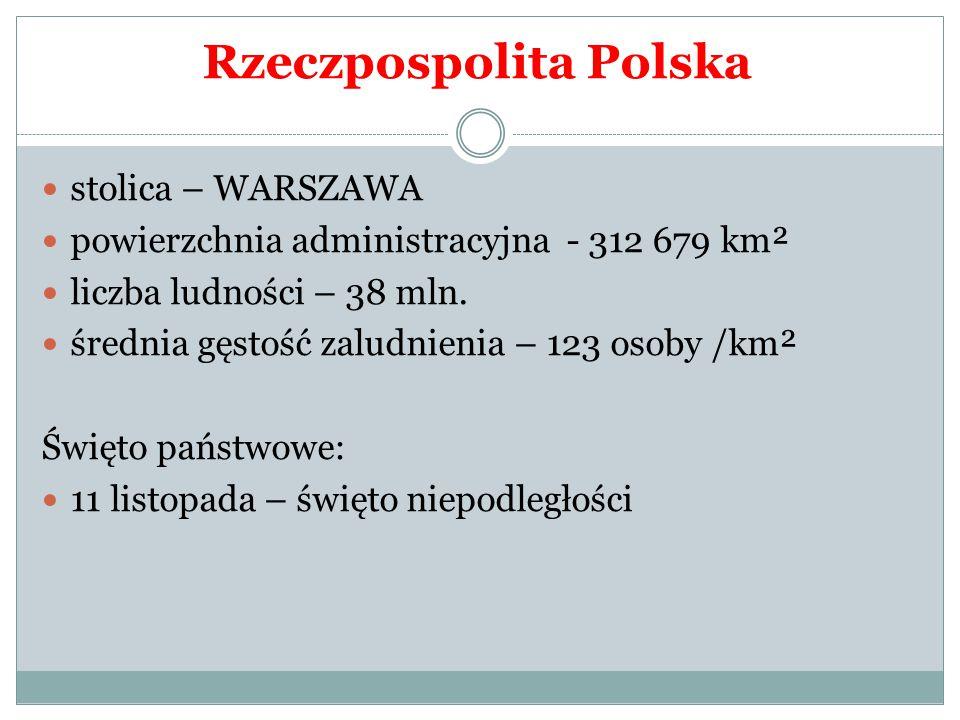 stolica – WARSZAWA powierzchnia administracyjna - 312 679 km² liczba ludności – 38 mln. średnia gęstość zaludnienia – 123 osoby /km² Święto państwowe: