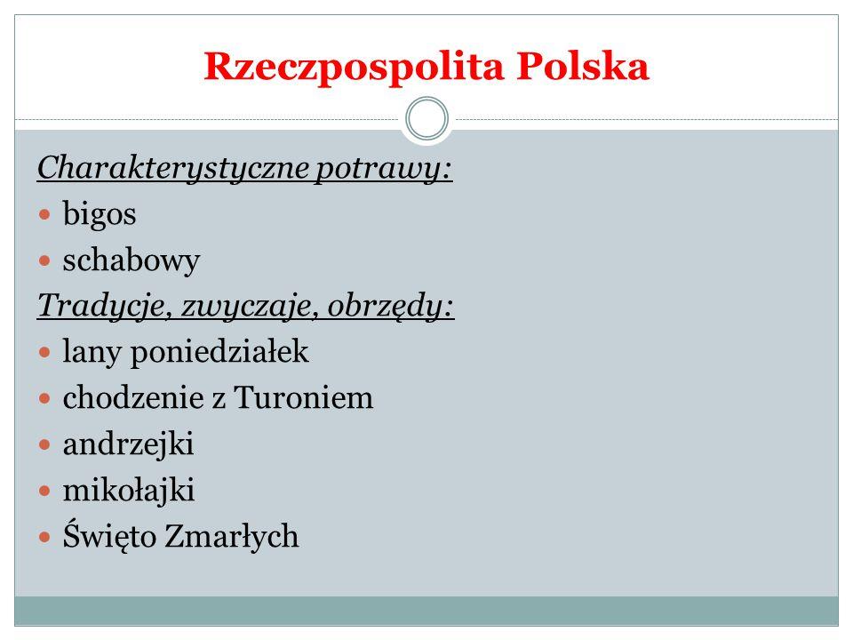 """ROSJA Charakterystyczne potrawy: Ruskie pierogi, """"solanka (mięsne, rybne, grzybowe) – zupy, kawior, """"pielmienie – pierożki w rosole, bliny, kulebiak, """"ucha – zupa z ryb słodkowodnych, """"szczi – kapuśniak z kwaśnej kapusty."""