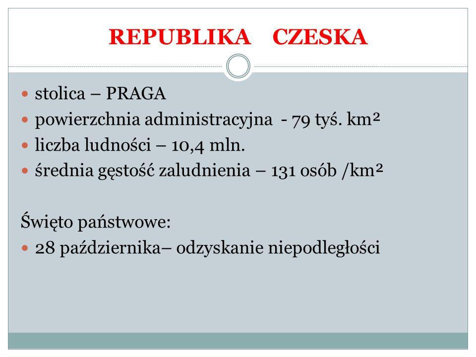 stolica – PRAGA powierzchnia administracyjna - 79 tyś. km² liczba ludności – 10,4 mln. średnia gęstość zaludnienia – 131 osób /km² Święto państwowe: 2