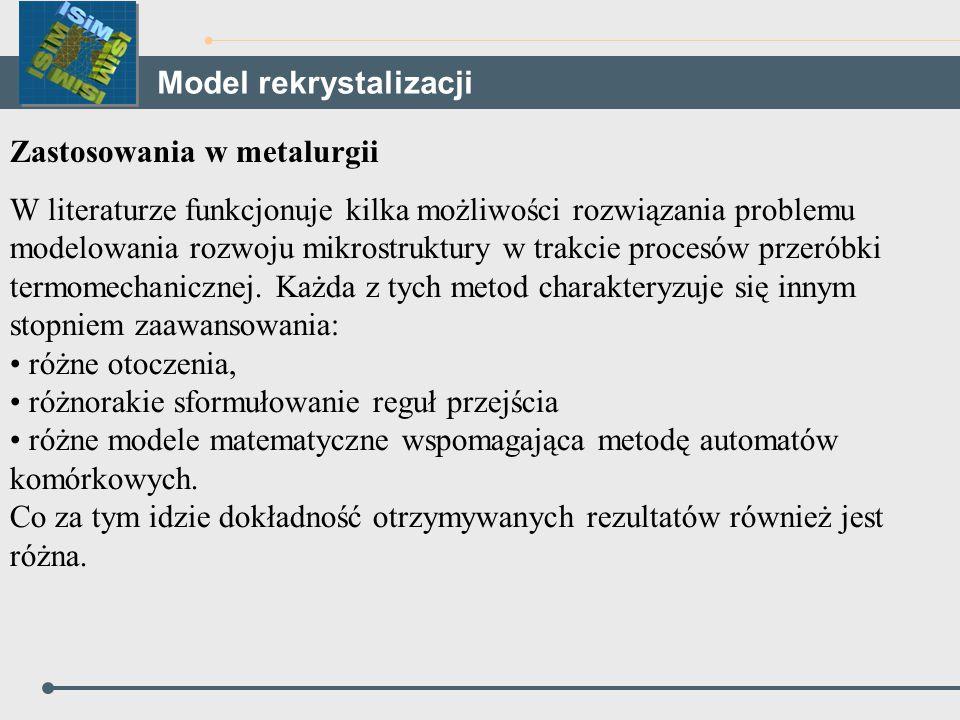 Zastosowania w metalurgii W literaturze funkcjonuje kilka możliwości rozwiązania problemu modelowania rozwoju mikrostruktury w trakcie procesów przeró