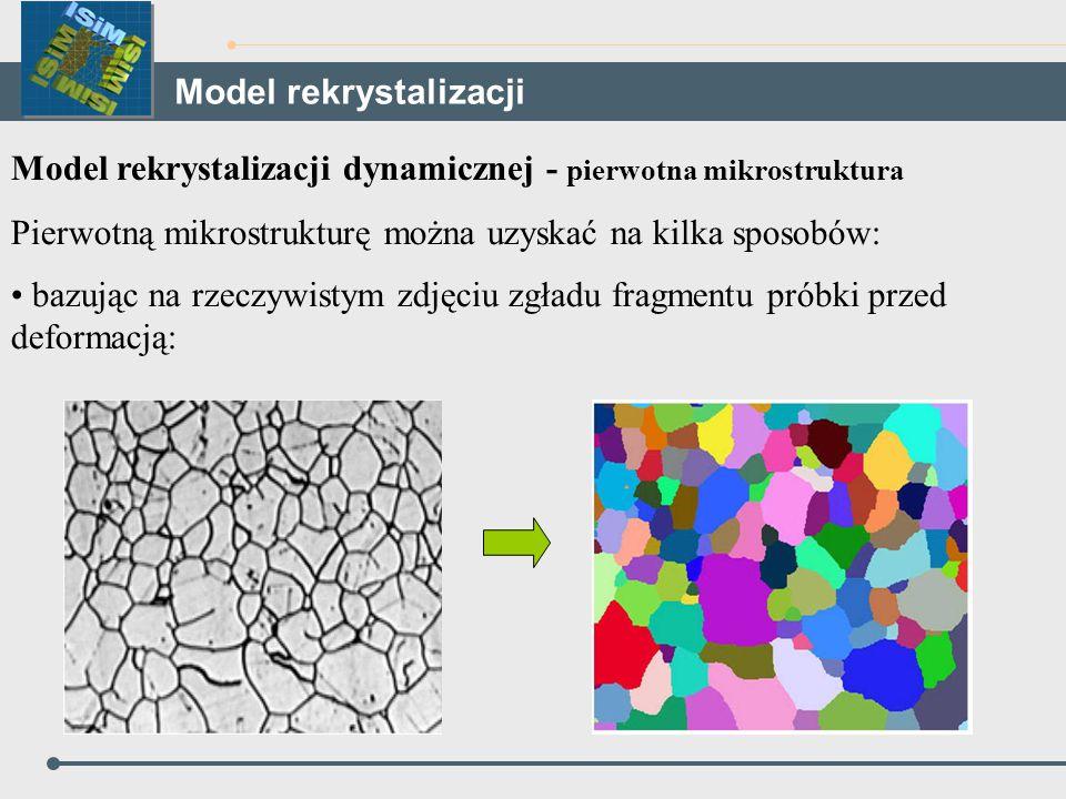 Model rekrystalizacji dynamicznej - pierwotna mikrostruktura Pierwotną mikrostrukturę można uzyskać na kilka sposobów: bazując na rzeczywistym zdjęciu