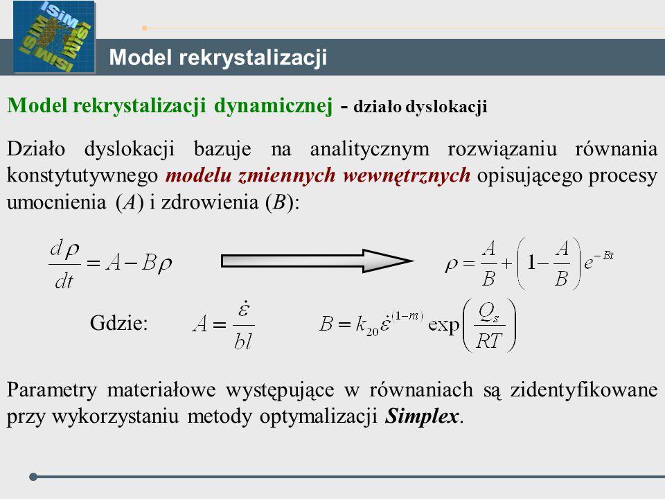 Model rekrystalizacji dynamicznej - działo dyslokacji Działo dyslokacji bazuje na analitycznym rozwiązaniu równania konstytutywnego modelu zmiennych w
