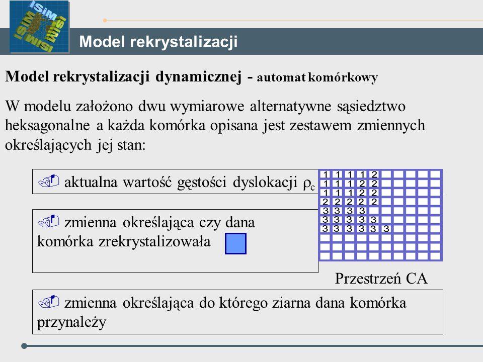 Model rekrystalizacji dynamicznej - automat komórkowy W modelu założono dwu wymiarowe alternatywne sąsiedztwo heksagonalne a każda komórka opisana jes