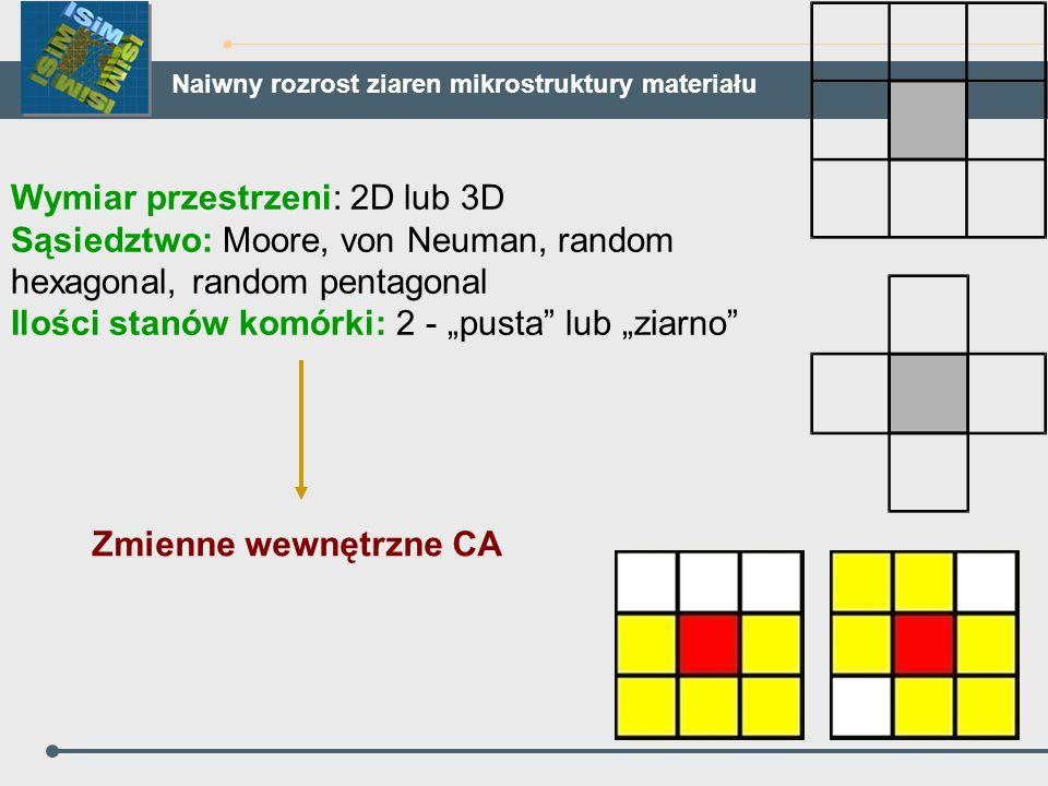 """Wymiar przestrzeni: 2D lub 3D Sąsiedztwo: Moore, von Neuman, random hexagonal, random pentagonal Ilości stanów komórki: 2 - """"pusta"""" lub """"ziarno"""" Zmien"""