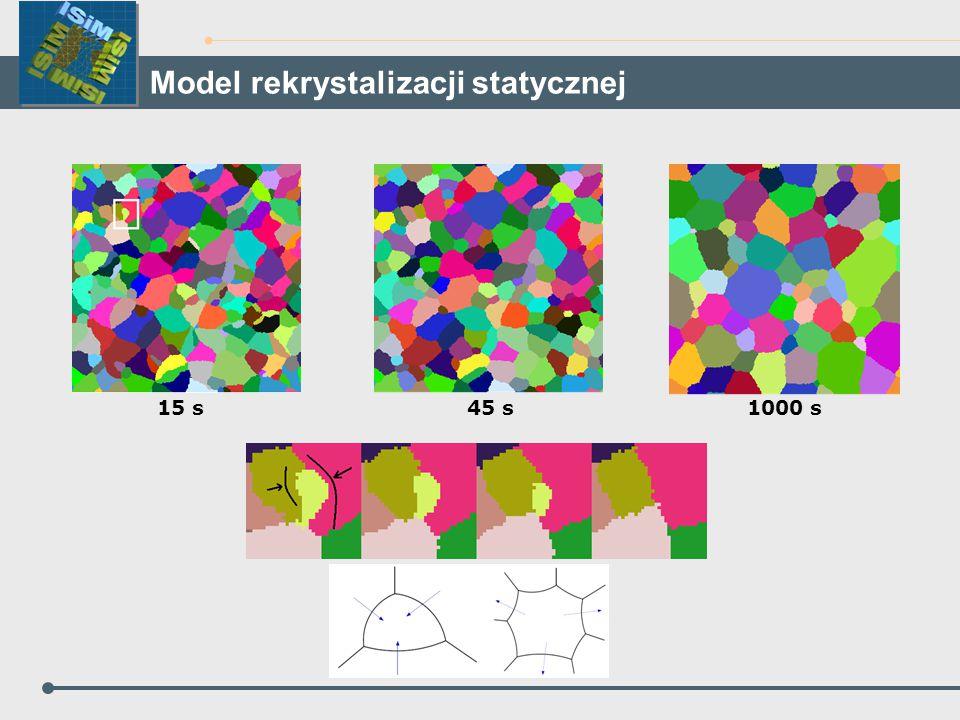 15 s45 s1000 s Model rekrystalizacji statycznej