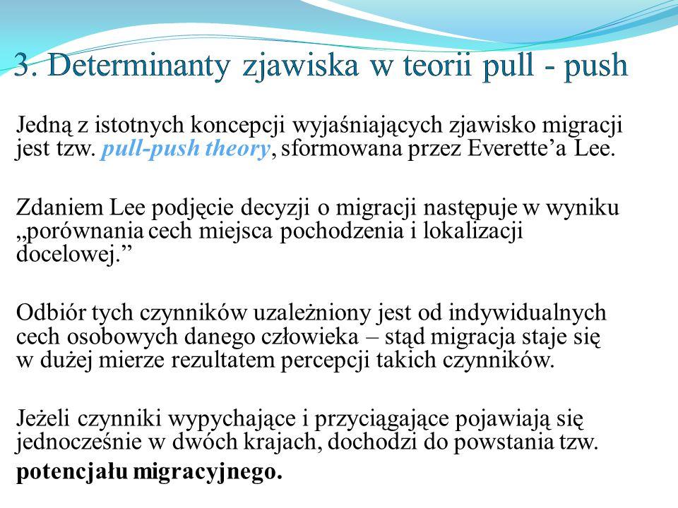 Jedną z istotnych koncepcji wyjaśniających zjawisko migracji jest tzw. pull-push theory, sformowana przez Everette'a Lee. Zdaniem Lee podjęcie decyzji