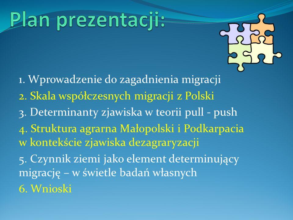 1. Wprowadzenie do zagadnienia migracji 2. Skala współczesnych migracji z Polski 3. Determinanty zjawiska w teorii pull - push 4. Struktura agrarna Ma