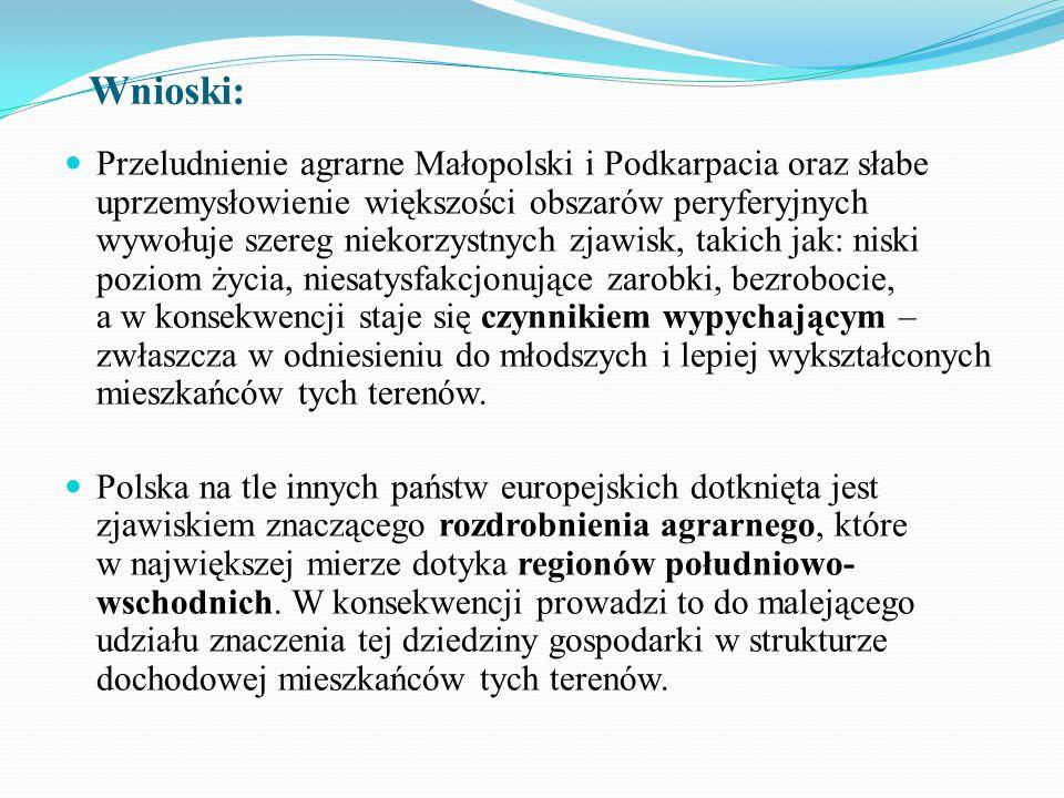 Wnioski: Przeludnienie agrarne Małopolski i Podkarpacia oraz słabe uprzemysłowienie większości obszarów peryferyjnych wywołuje szereg niekorzystnych z