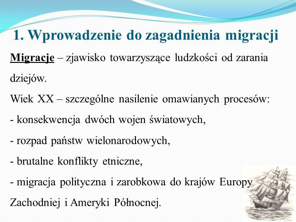 1. Wprowadzenie do zagadnienia migracji Migracje – zjawisko towarzyszące ludzkości od zarania dziejów. Wiek XX – szczególne nasilenie omawianych proce