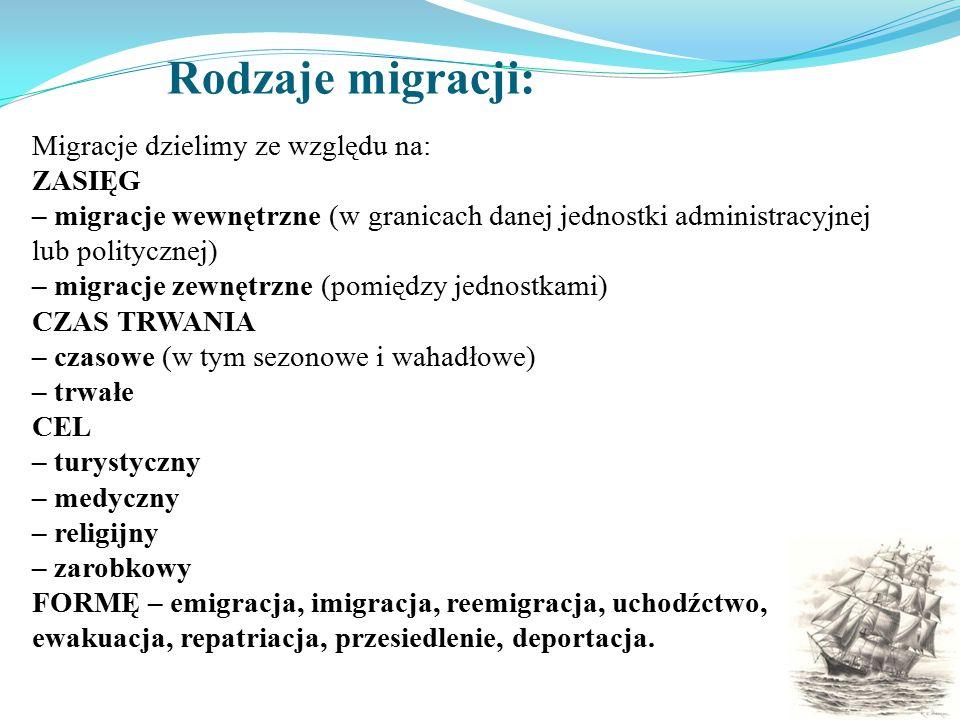 Rodzaje migracji: Migracje dzielimy ze względu na: ZASIĘG – migracje wewnętrzne (w granicach danej jednostki administracyjnej lub politycznej) – migra