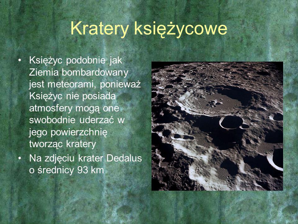 Kratery księżycowe Księżyc podobnie jak Ziemia bombardowany jest meteorami, ponieważ Księżyc nie posiada atmosfery mogą one swobodnie uderzać w jego p