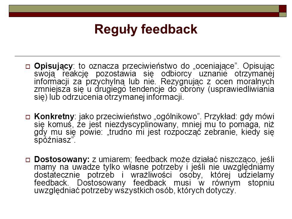 """Reguły feedback  Opisujący: to oznacza przeciwieństwo do """"oceniające"""". Opisując swoją reakcję pozostawia się odbiorcy uznanie otrzymanej informacji z"""