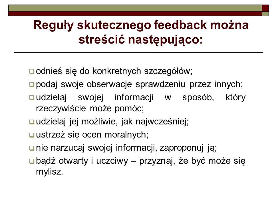 Reguły skutecznego feedback można streścić następująco:  odnieś się do konkretnych szczegółów;  podaj swoje obserwacje sprawdzeniu przez innych;  u