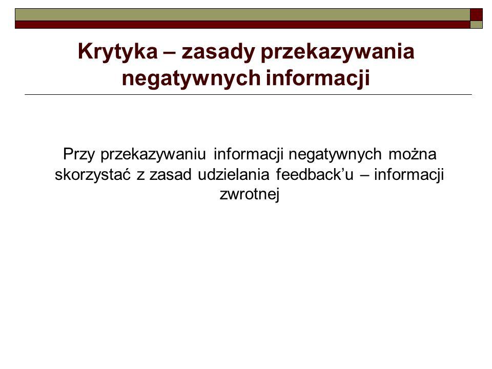 Krytyka – zasady przekazywania negatywnych informacji Przy przekazywaniu informacji negatywnych można skorzystać z zasad udzielania feedback'u – infor