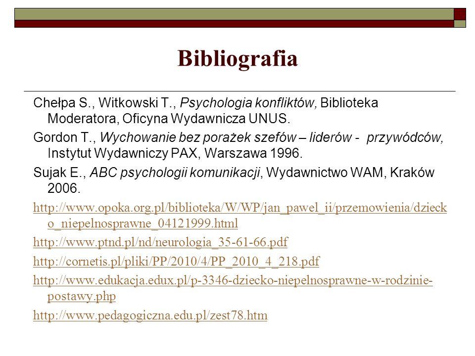 Bibliografia Chełpa S., Witkowski T., Psychologia konfliktów, Biblioteka Moderatora, Oficyna Wydawnicza UNUS. Gordon T., Wychowanie bez porażek szefów