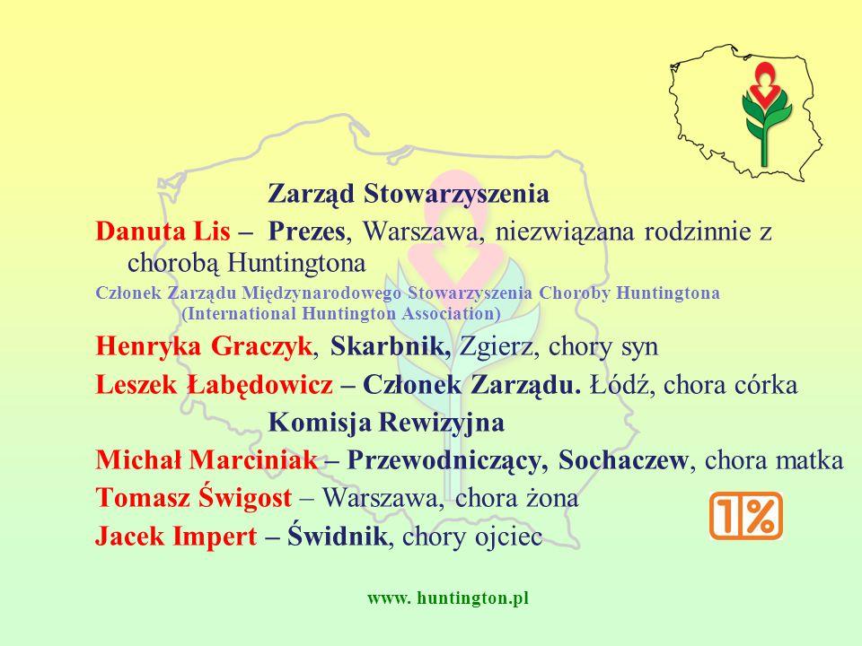 www. huntington.pl Zarząd Stowarzyszenia Danuta Lis – Prezes, Warszawa, niezwiązana rodzinnie z chorobą Huntingtona Członek Zarządu Międzynarodowego S