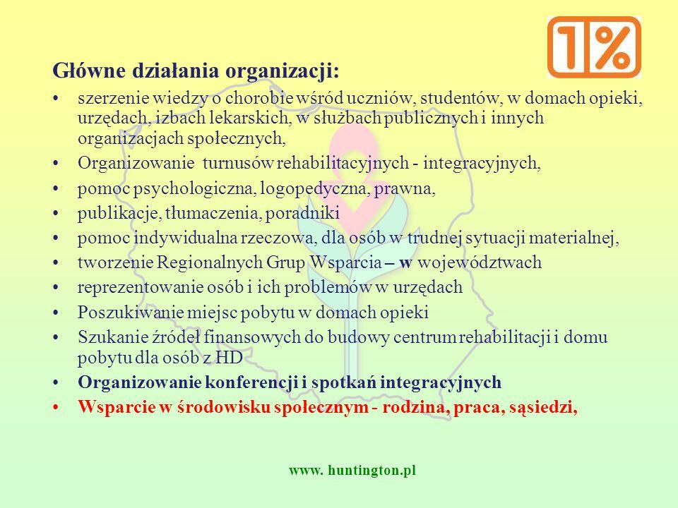 www. huntington.pl Główne działania organizacji: szerzenie wiedzy o chorobie wśród uczniów, studentów, w domach opieki, urzędach, izbach lekarskich, w
