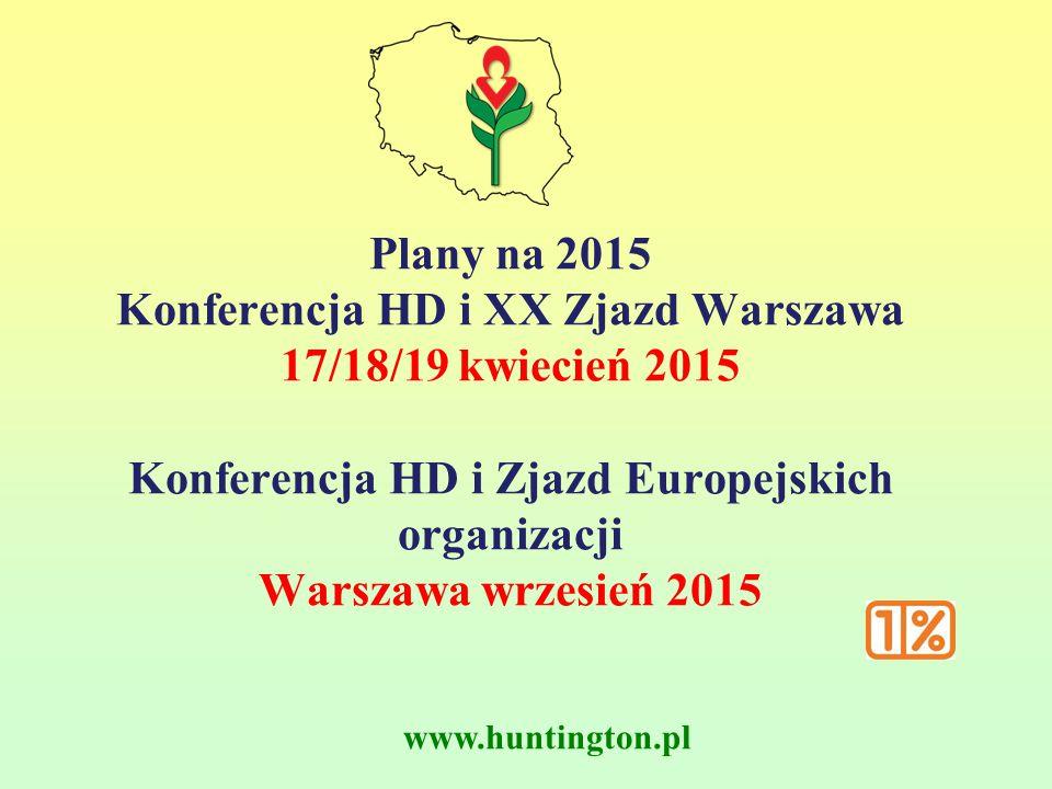www.huntington.pl Plany na 2015 Konferencja HD i XX Zjazd Warszawa 17/18/19 kwiecień 2015 Konferencja HD i Zjazd Europejskich organizacji Warszawa wrz