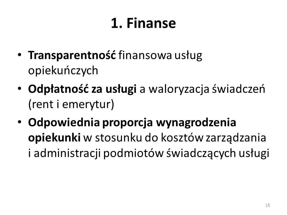 1. Finanse Transparentność finansowa usług opiekuńczych Odpłatność za usługi a waloryzacja świadczeń (rent i emerytur) Odpowiednia proporcja wynagrodz