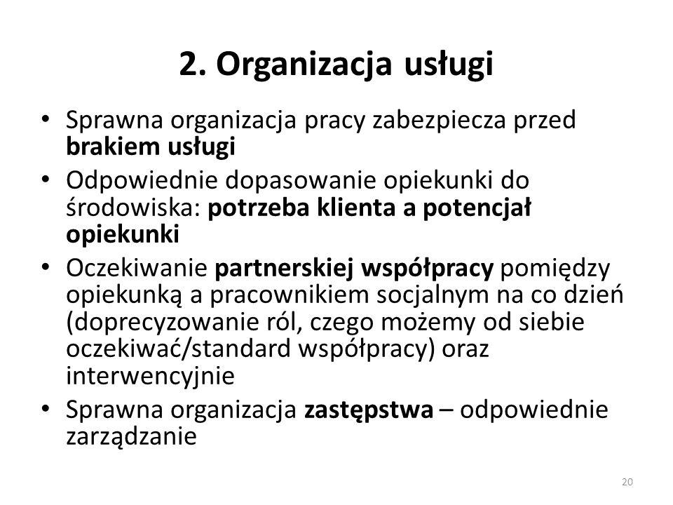 2. Organizacja usługi Sprawna organizacja pracy zabezpiecza przed brakiem usługi Odpowiednie dopasowanie opiekunki do środowiska: potrzeba klienta a p
