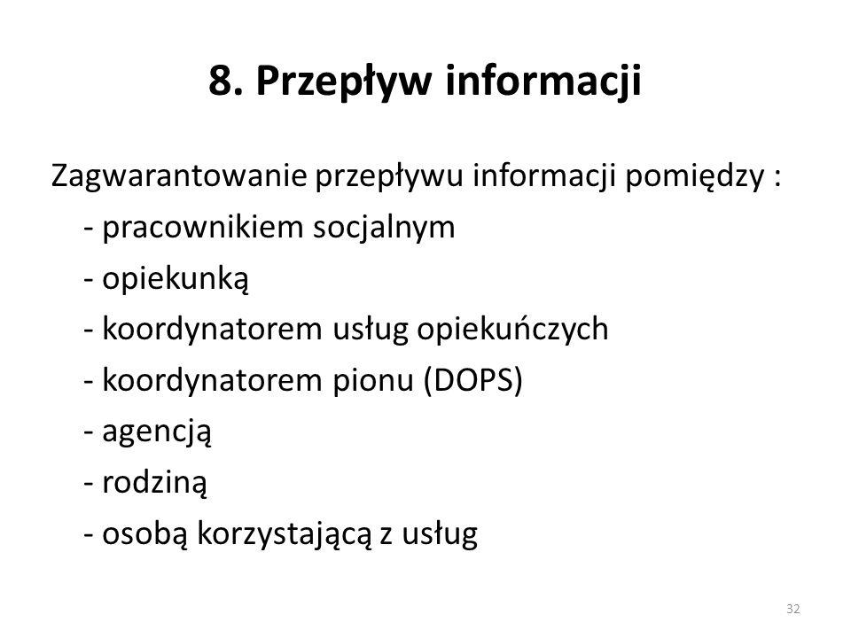 8. Przepływ informacji Zagwarantowanie przepływu informacji pomiędzy : - pracownikiem socjalnym - opiekunką - koordynatorem usług opiekuńczych - koord