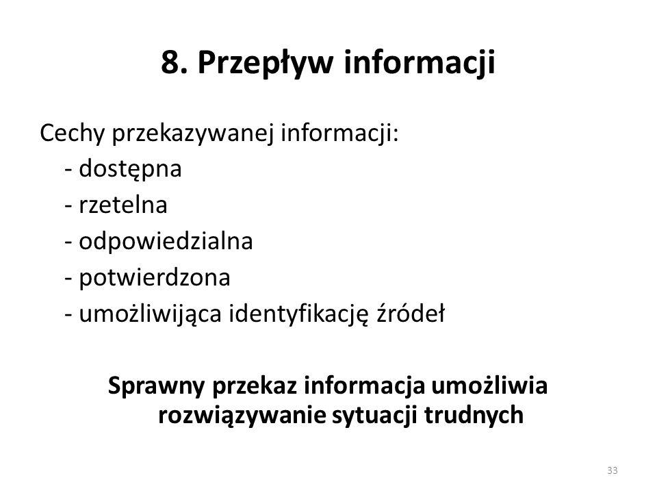 8. Przepływ informacji Cechy przekazywanej informacji: - dostępna - rzetelna - odpowiedzialna - potwierdzona - umożliwijąca identyfikację źródeł Spraw