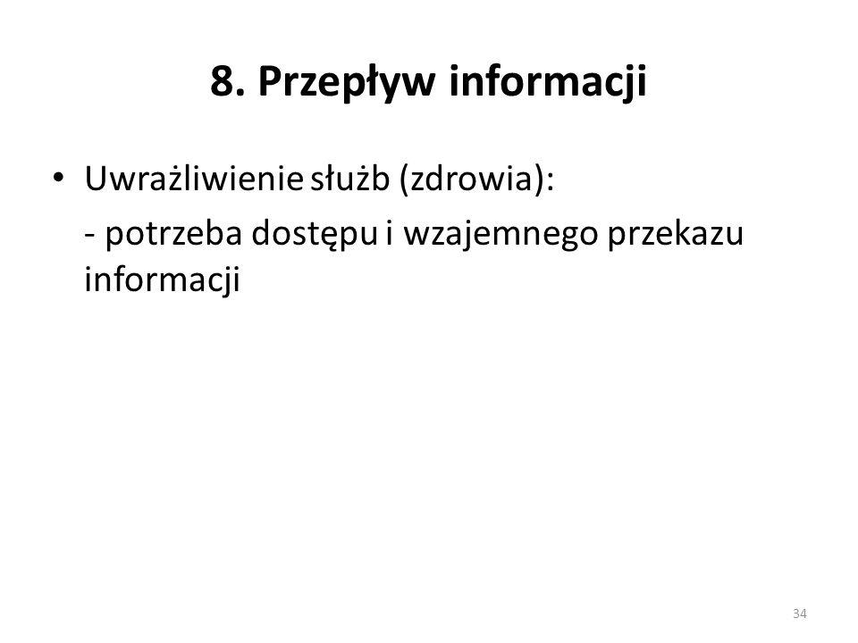 8. Przepływ informacji Uwrażliwienie służb (zdrowia): - potrzeba dostępu i wzajemnego przekazu informacji 34