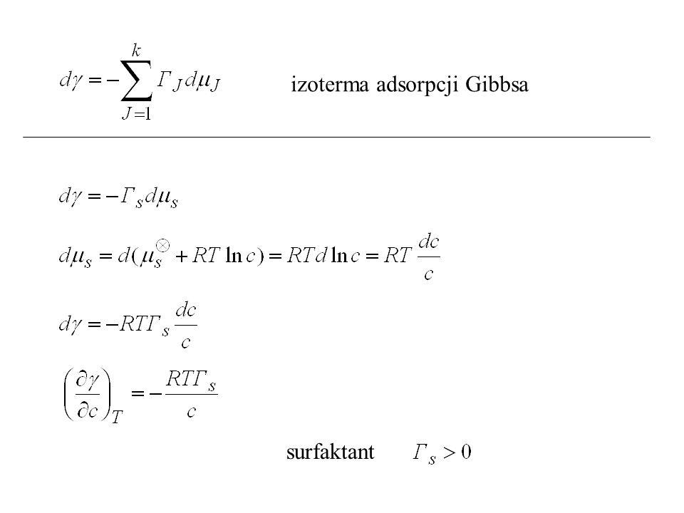 izoterma adsorpcji Gibbsa surfaktant
