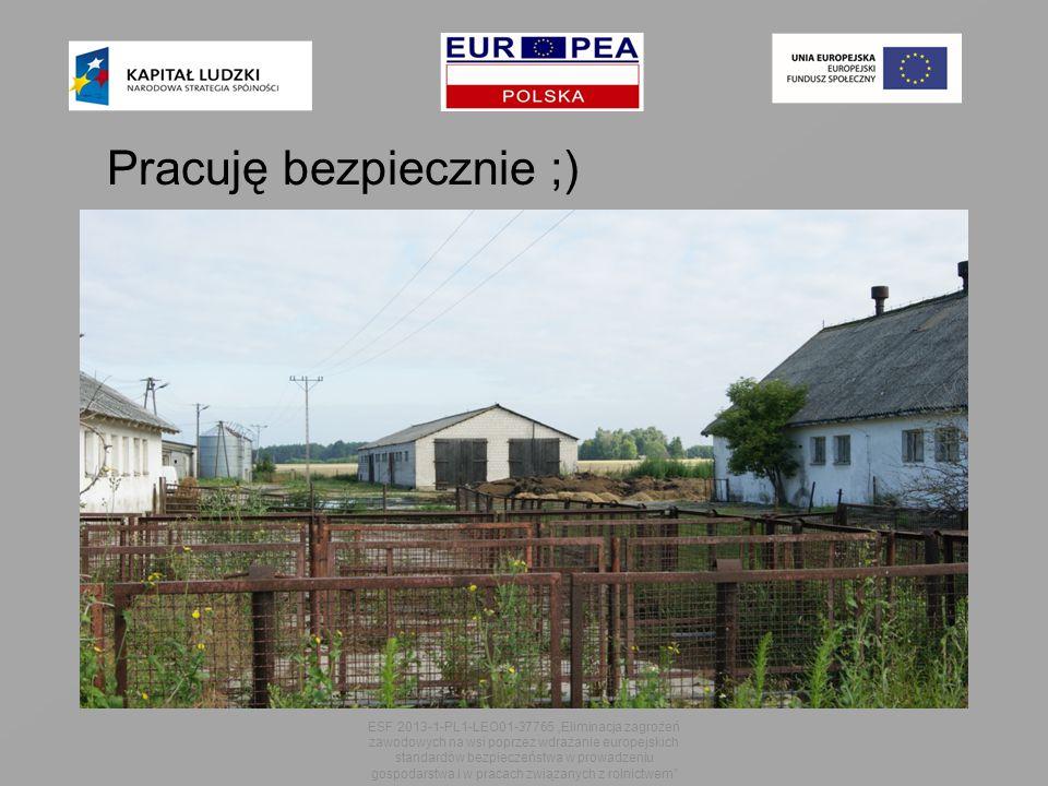 """ESF 2013-1-PL1-LEO01-37765 """"Eliminacja zagrożeń zawodowych na wsi poprzez wdrażanie europejskich standardów bezpieczeństwa w prowadzeniu gospodarstwa i w pracach związanych z rolnictwem Pracuję bezpiecznie ;)"""