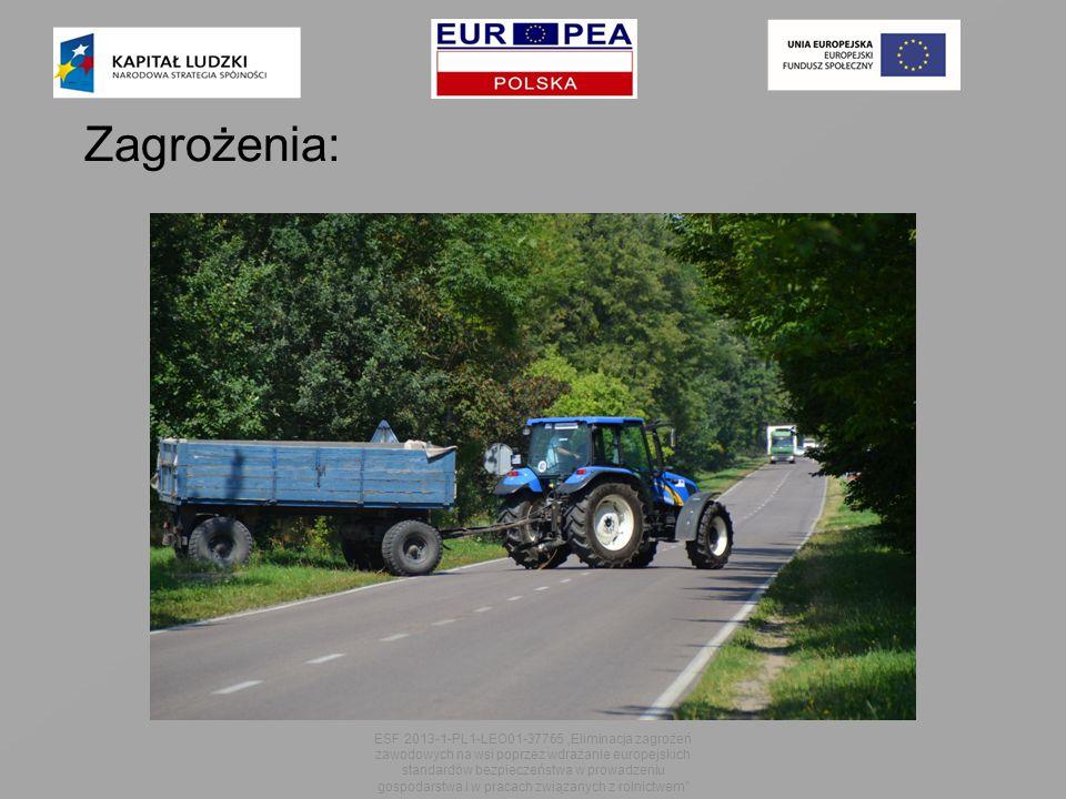 """Zagrożenia: ESF 2013-1-PL1-LEO01-37765 """"Eliminacja zagrożeń zawodowych na wsi poprzez wdrażanie europejskich standardów bezpieczeństwa w prowadzeniu gospodarstwa i w pracach związanych z rolnictwem"""