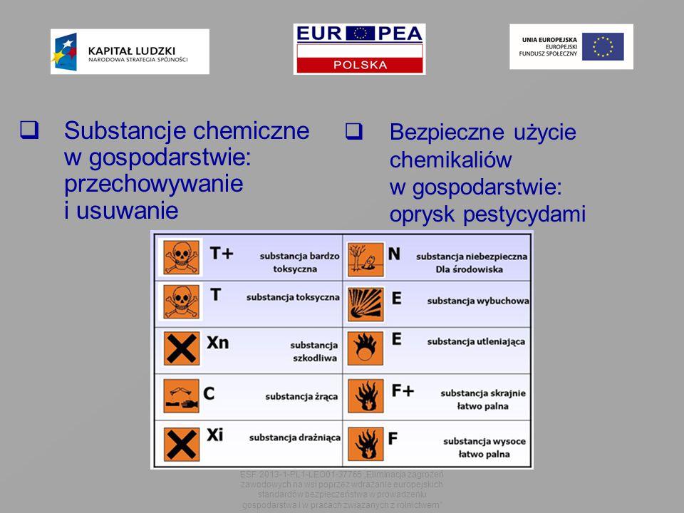 """ Substancje chemiczne w gospodarstwie: przechowywanie i usuwanie ESF 2013-1-PL1-LEO01-37765 """"Eliminacja zagrożeń zawodowych na wsi poprzez wdrażanie europejskich standardów bezpieczeństwa w prowadzeniu gospodarstwa i w pracach związanych z rolnictwem  Bezpieczne użycie chemikaliów w gospodarstwie: oprysk pestycydami"""