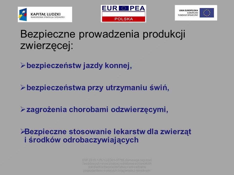 """ bezpieczeństw jazdy konnej,  bezpieczeństwa przy utrzymaniu świń,  zagrożenia chorobami odzwierzęcymi,  Bezpieczne stosowanie lekarstw dla zwierząt i środków odrobaczywiających ESF 2013-1-PL1-LEO01-37765 """"Eliminacja zagrożeń zawodowych na wsi poprzez wdrażanie europejskich standardów bezpieczeństwa w prowadzeniu gospodarstwa i w pracach związanych z rolnictwem Bezpieczne prowadzenia produkcji zwierzęcej:"""