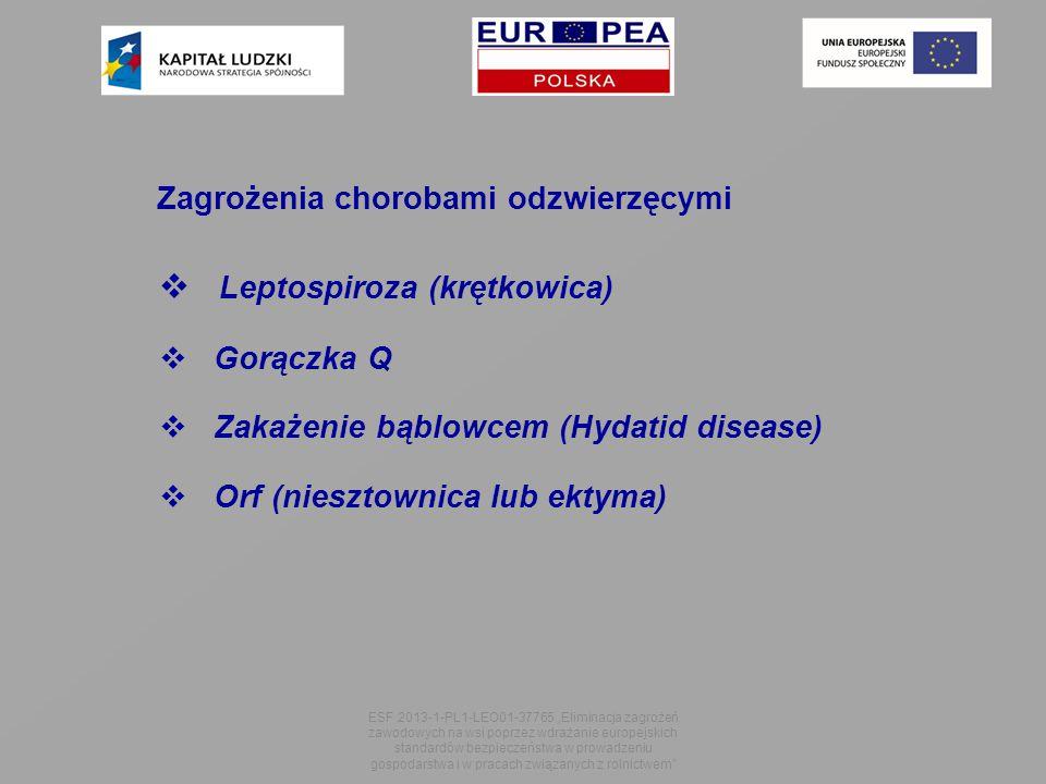 """Zagrożenia chorobami odzwierzęcymi  Leptospiroza (krętkowica)  Gorączka Q  Zakażenie bąblowcem (Hydatid disease)  Orf (niesztownica lub ektyma) ESF 2013-1-PL1-LEO01-37765 """"Eliminacja zagrożeń zawodowych na wsi poprzez wdrażanie europejskich standardów bezpieczeństwa w prowadzeniu gospodarstwa i w pracach związanych z rolnictwem"""