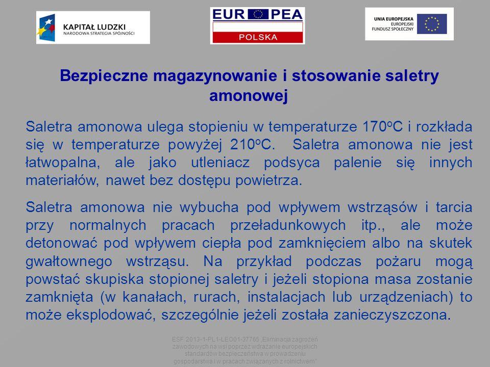 Bezpieczne magazynowanie i stosowanie saletry amonowej Saletra amonowa ulega stopieniu w temperaturze 170 o C i rozkłada się w temperaturze powyżej 210 o C.