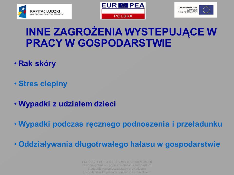 """INNE ZAGROŻENIA WYSTEPUJĄCE W PRACY W GOSPODARSTWIE Rak skóry Stres cieplny Wypadki z udziałem dzieci Wypadki podczas ręcznego podnoszenia i przeładunku Oddziaływania długotrwałego hałasu w gospodarstwie ESF 2013-1-PL1-LEO01-37765 """"Eliminacja zagrożeń zawodowych na wsi poprzez wdrażanie europejskich standardów bezpieczeństwa w prowadzeniu gospodarstwa i w pracach związanych z rolnictwem"""