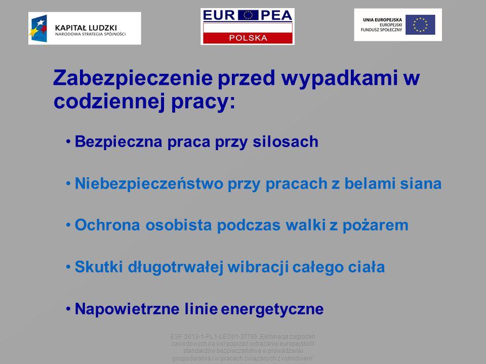 """Zabezpieczenie przed wypadkami w codziennej pracy: Bezpieczna praca przy silosach Niebezpieczeństwo przy pracach z belami siana Ochrona osobista podczas walki z pożarem Skutki długotrwałej wibracji całego ciała Napowietrzne linie energetyczne ESF 2013-1-PL1-LEO01-37765 """"Eliminacja zagrożeń zawodowych na wsi poprzez wdrażanie europejskich standardów bezpieczeństwa w prowadzeniu gospodarstwa i w pracach związanych z rolnictwem"""
