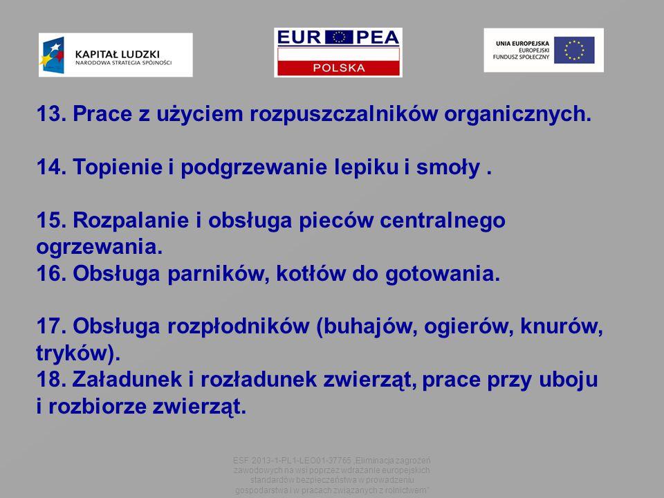 """ESF 2013-1-PL1-LEO01-37765 """"Eliminacja zagrożeń zawodowych na wsi poprzez wdrażanie europejskich standardów bezpieczeństwa w prowadzeniu gospodarstwa i w pracach związanych z rolnictwem 13."""