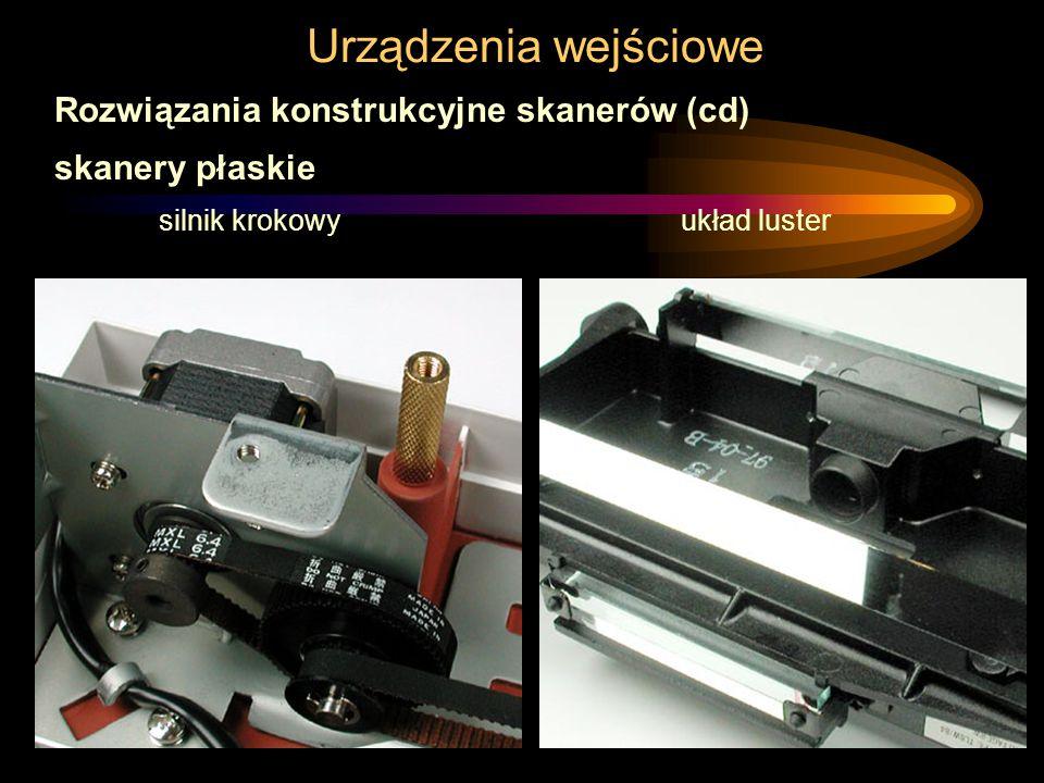 Urządzenia wejściowe Rozwiązania konstrukcyjne skanerów (cd) skanery płaskie silnik krokowy układ luster