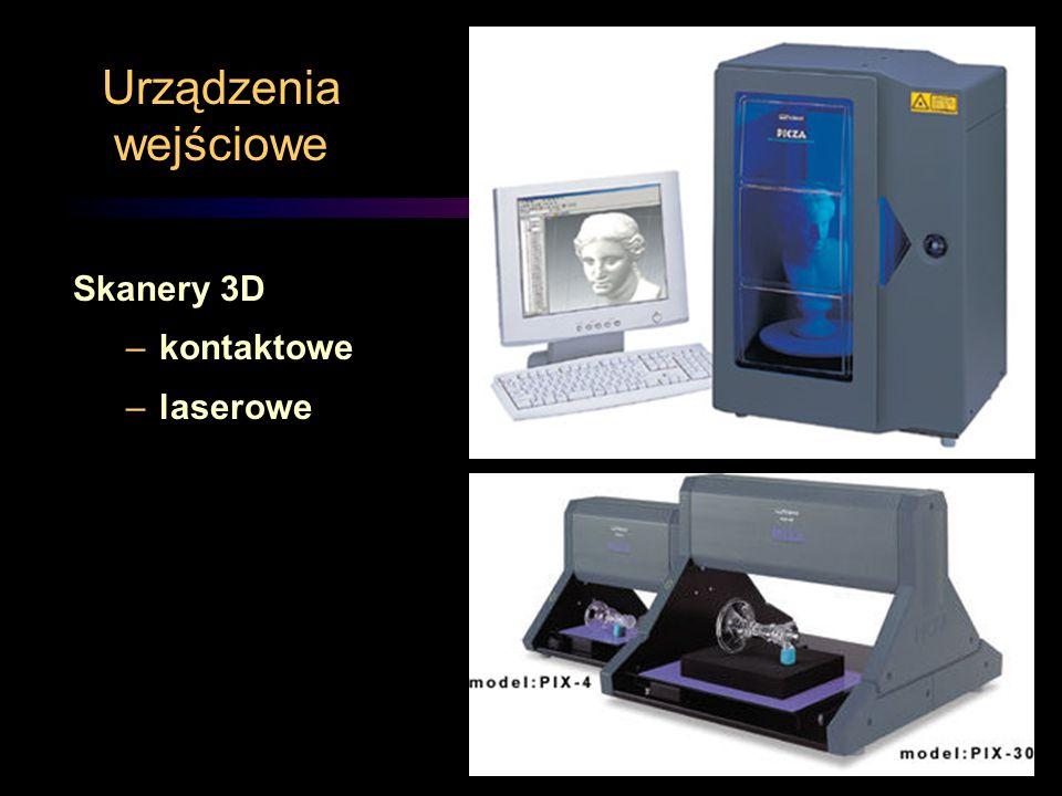 Urządzenia wejściowe Skanery 3D –kontaktowe –laserowe