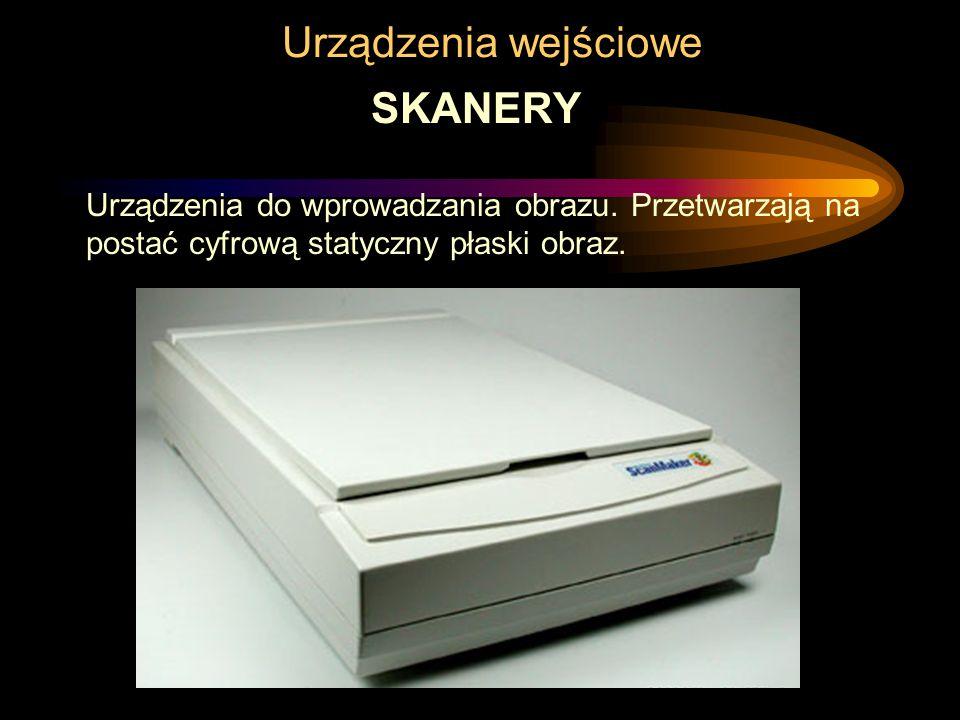 Urządzenia wyjściowe - drukarki Drukarki atramentowe - budowa (1) zespół głowicy drukującej –głowica drukująca Zawiera szereg dysz służących do wystrzeliwania atramentu